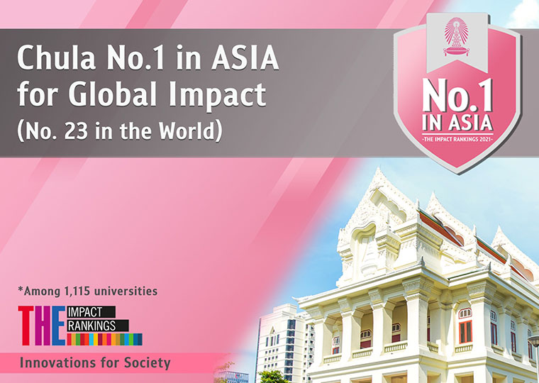 Chulalongkorn University is awarded No.1 in ASIA for Global Impact.